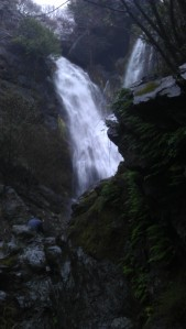 waterfall we found after a scramble of a hike at a stop along Highway 1